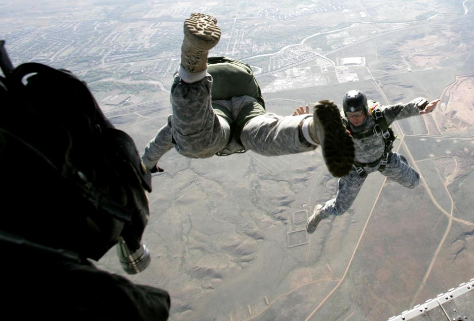 Special Forces Jumping from Plane